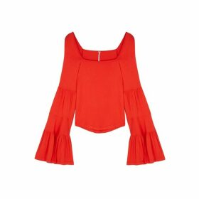 Free People Babetown Red Jersey Top
