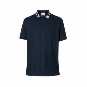 Burberry Logo Intarsia Cotton Pique Polo Shirt