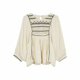 Free People Cyprus Avenue Embroidered Gauze Blouse
