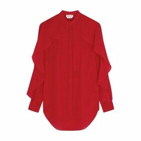 Alexander McQueen Red Ruffle-trimmed Silk Blouse