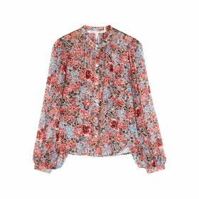 Veronica Beard Ashlynn Floral-print Silk Georgette Blouse