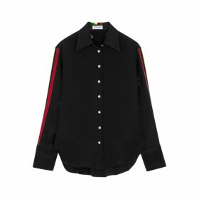 Serena Bute Black Striped Silk Shirt