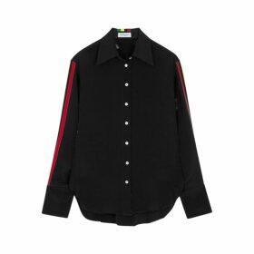 Serena Bute Black Striped Silk Shirt