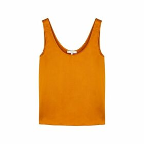 Vince Orange Silk-satin Top