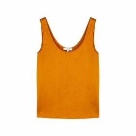 Vince Orange Silk-satin Top