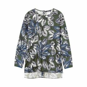 'S Max Mara Dark Green Floral-print Cotton Top