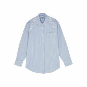 Alexander Wang Striped Zip-embellished Cotton Shirt