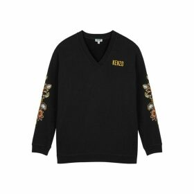 Kenzo Black Embroidered Cotton Sweatshirt