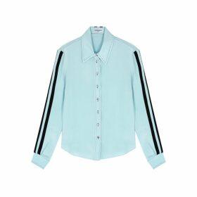 Serena Bute Serena Light Blue Striped Silk Shirt