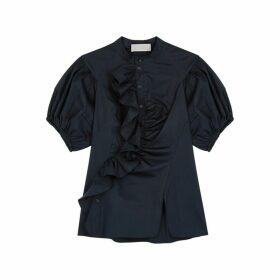 Peter Pilotto Navy Ruffle-trimmed Cotton Shirt