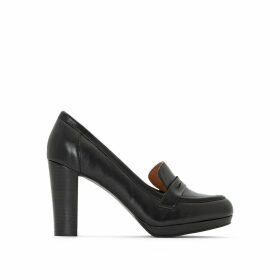 Leather Wooden Effect High Heel Loafers
