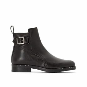 Leather Buckled Ankle Boots Exclusive to La Redoute