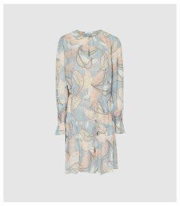 Reiss Dara - Leaf Printed Shift Dress in Blue, Womens, Size 16