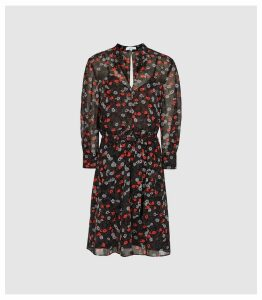 Reiss Peony - Floral Printed Dress in Red/ Black, Womens, Size 18