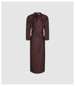 Reiss Vienna - Belted Midi Dress in Berry, Womens, Size 16