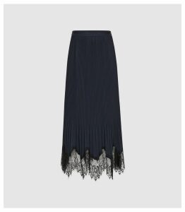 Reiss Ania - Lace Detail Pleated Midi Skirt in Navy, Womens, Size 14