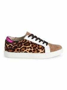 Leopard Calf Hair Leather Sneakers