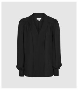 Reiss Birdie - V-neck Blouse in Black, Womens, Size 14
