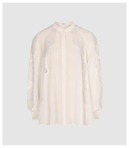 Reiss Fianna - Lace Detailed Semi Sheer Blouse in Nude, Womens, Size 16