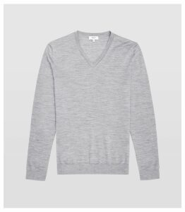 Reiss Earl - Merino Wool V-neck Jumper in Grey Melange, Mens, Size XXL