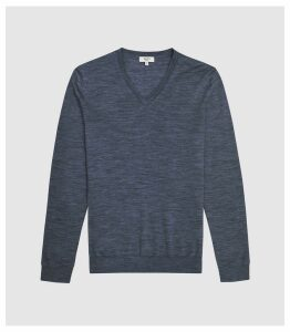 Reiss Earl - Merino Wool V-neck Jumper in Airforce Blue Melange, Mens, Size XXL