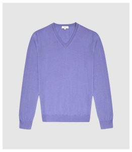 Reiss Earl - Merino Wool V-neck Jumper in Purple, Mens, Size XXL