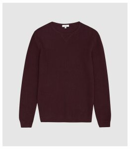 Reiss Carnsdale - Textured Crew Neck Jumper in Bordeaux, Mens, Size XXL