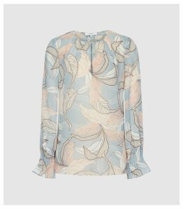 Reiss Hazel - Leaf Printed Blouse in Blue, Womens, Size 16