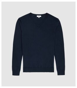 Reiss Earl - Merino Wool V-neck Jumper in Navy, Mens, Size XS