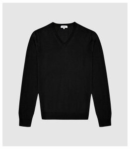 Reiss Earl - Merino Wool V-neck Jumper in Black, Mens, Size S