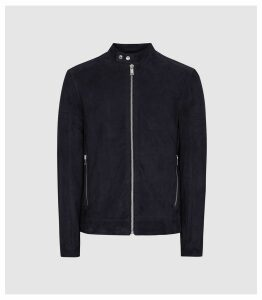 Reiss Marko - Suede Cafe Racer Jacket in Navy, Mens, Size XXL