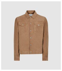 Reiss Jagger - Suede Trucker Jacket in Stone, Mens, Size XXL