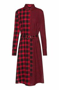 Midi shirt dress in mixed checks with D-ring belt