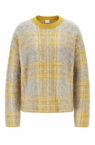 Relaxed-fit sweater in brushed check jacquard