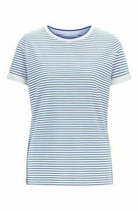 Striped T-shirt in stretch fabric with mesh neckline