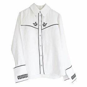 Florence Bridge - Embroidered Cowboy Shirt White