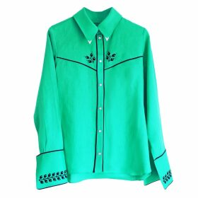 Florence Bridge - Embroidered Cowboy Shirt Jade Green