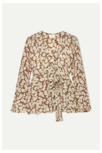 Hannah Artwear - Hazelnut Floral-print Silk Crepe De Chine Top - Brown