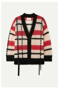 3.1 Phillip Lim - Oversized Satin-trimmed Striped Open-knit Cardigan - Red