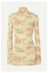 Paco Rabanne - Floral-print Ribbed Cotton-blend Turtleneck Top - Ivory