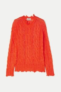 Acne Studios - Kelenal Frayed Cable-knit Sweater - Coral