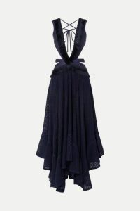 PatBO - Cutout Fringed Jersey And Cotton-blend Lace Maxi Dress - Navy