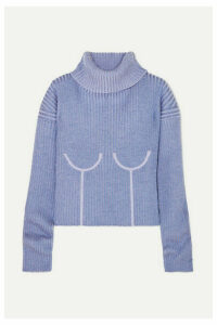 Mugler - Ribbed Mélange Wool-blend Turtleneck Sweater - Lilac