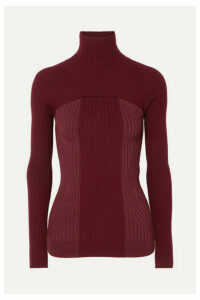 Mugler - Ribbed Two-tone Wool-blend Turtleneck Sweater - Burgundy