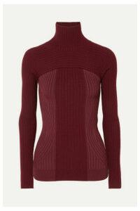 Mugler - Ribbed Two-tone Wool-blend Turtleneck Sweater - Burgundy