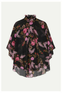 Giambattista Valli - Ruffled Floral-print Silk-georgette Blouse - Black