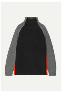Victoria, Victoria Beckham - Oversized Color-block Wool Turtleneck Sweater - Gray