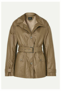 Isabel Marant - Belted Coated Cotton-canvas Jacket - Army green