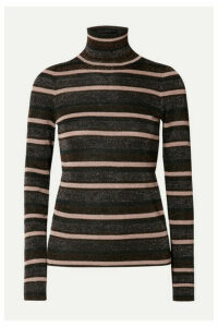 Ulla Johnson - Genie Striped Metallic Knitted Turtleneck Sweater - Black