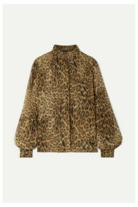 Nili Lotan - Evelyn Leopard-print Silk-chiffon Blouse - Brown